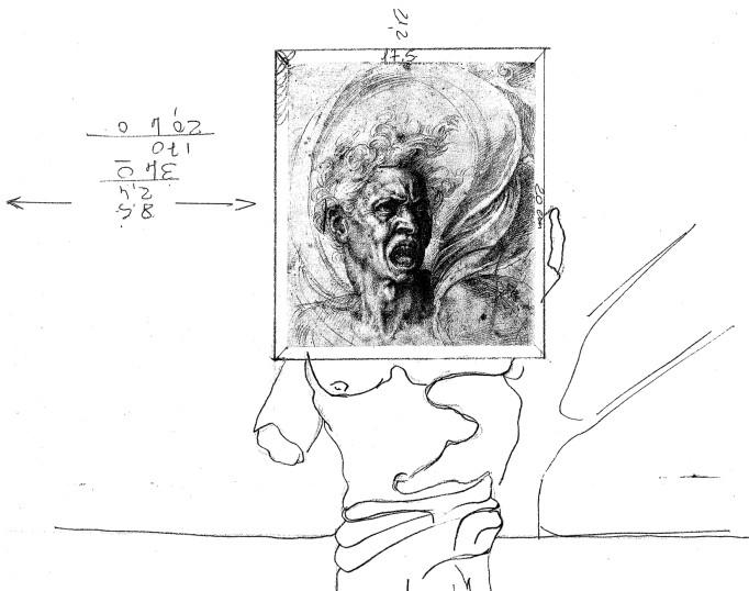 1990. studio per dipinto la dannazione della quiete china su carta 14*21 cm