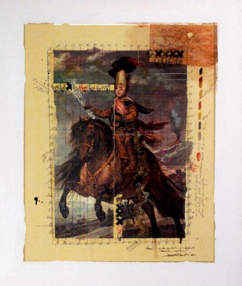 2011. CAVALLO E CAVALLIERI tecnica mista e collage su tela 80*70 cm