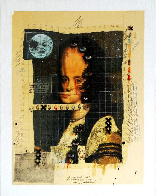 2011. SGUARDO ALLA LUNA tecnica mista e collage su tela 50*40 cm
