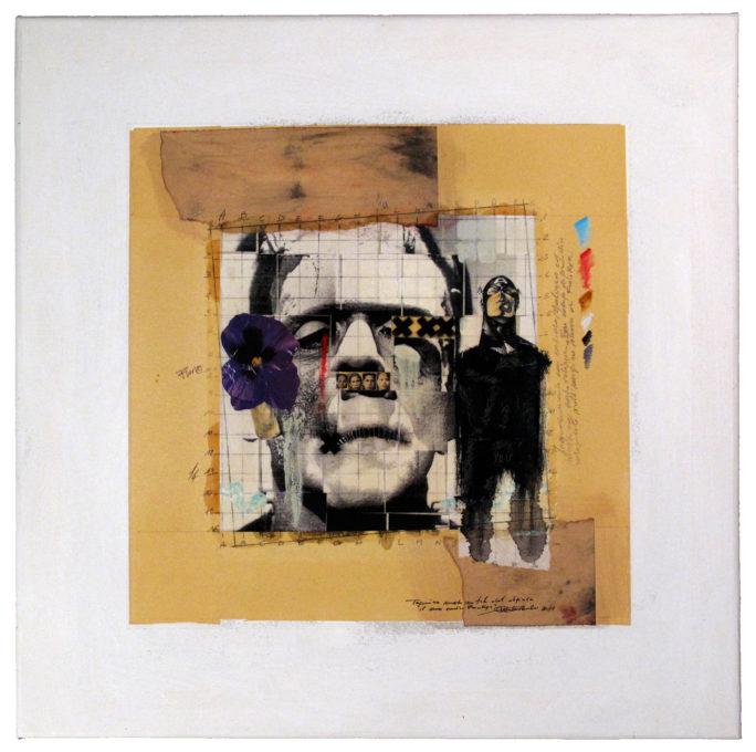 2011. IL MIO AMICO FRANKYE tecnica mista e collage su tela 50*50 cm