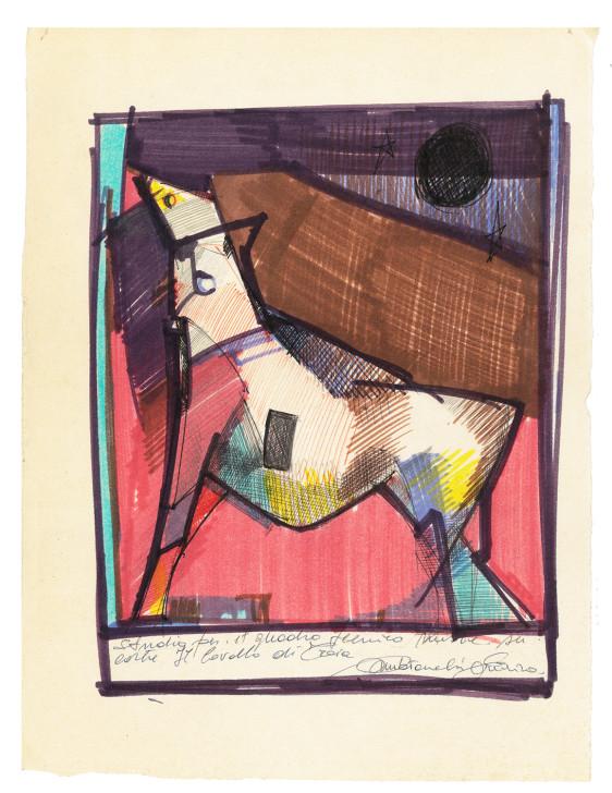 2000. studio per il quadro Il Cavallo di Troia china e pennarelli su carta 25*19 cm