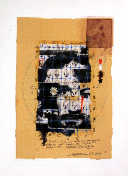 2011. CHARLES MANSON tecnica mista e collage su tela 40*30 cm
