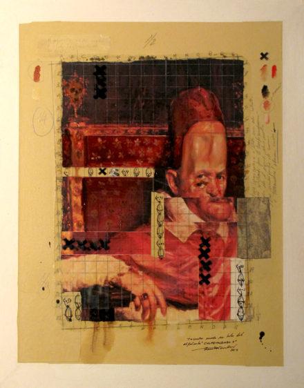 2011. COLPEVOLENZO X tecnica mista e collage su tela 70*50 cm
