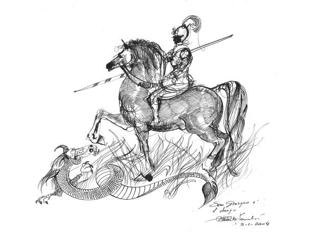 2004. san giorgio e il drago china su carta 21*30 cm