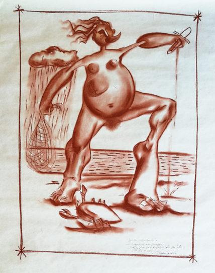 2006. LA CACCIATRICE DI GRANCHI sanguigna su carta 100*75 cm