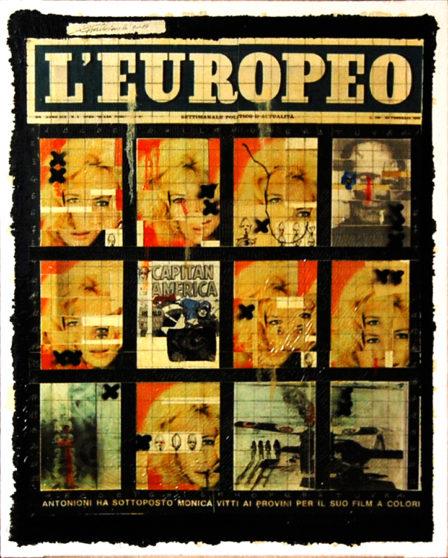 2012. L'EUROPEO tecnica mista e collage su tela 45*30 cm