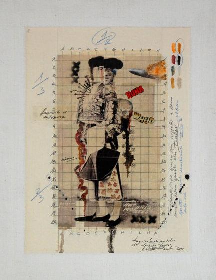 2012. VOMITO tecnica mista su tela e collage 40*30 cm