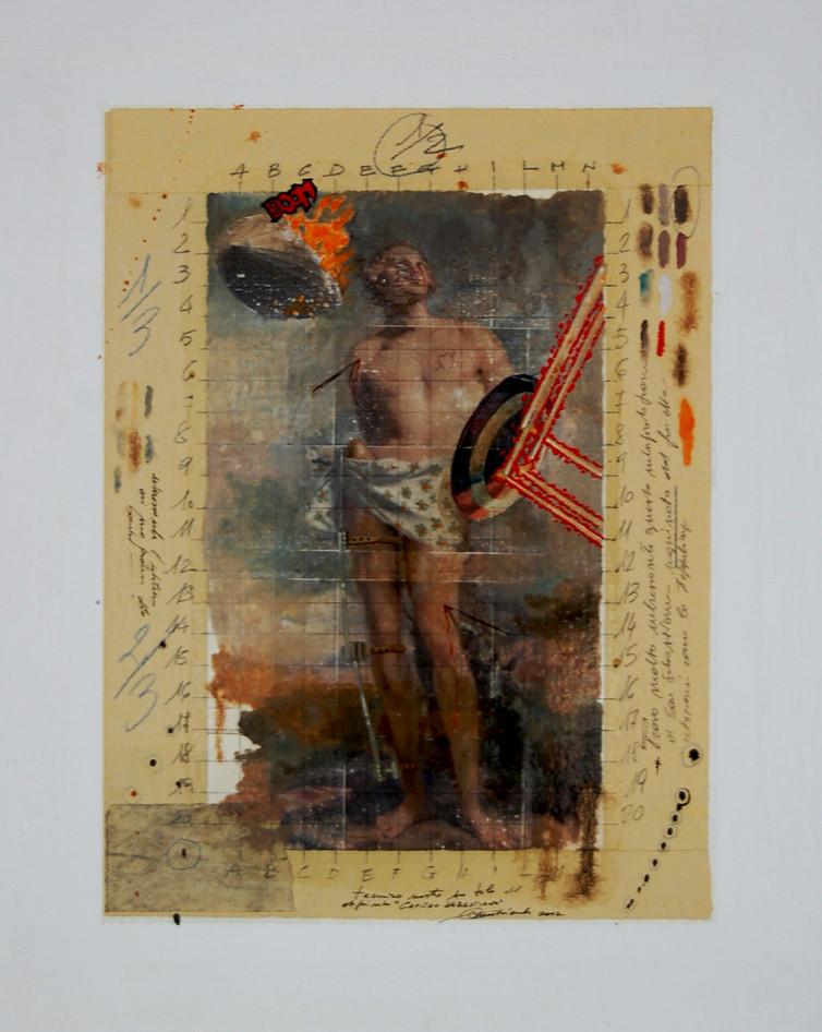 2012. CAPITAN SEBASTIANO tecnica mista e collage su tela 70*50 cm