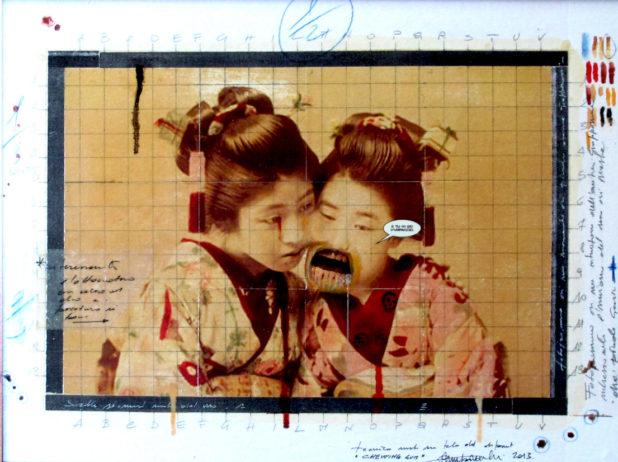 2013. CHEWING GUM  tecnica mista con collage su tavola 40*30 cm