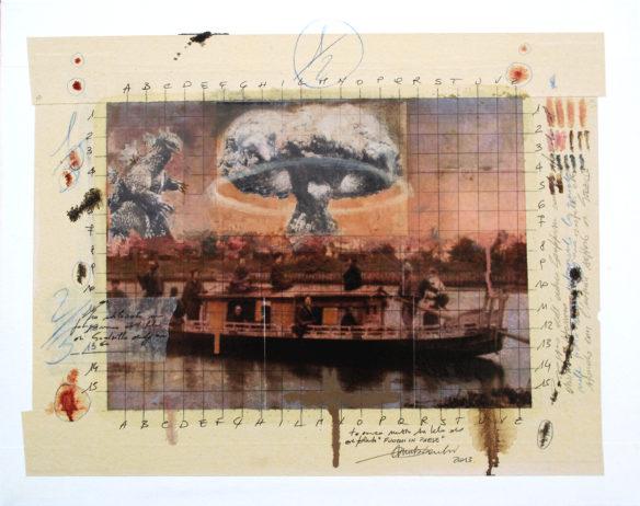 2013. FUOCHI IN PAESE tecnica mista e collage su tela 50*40 cm