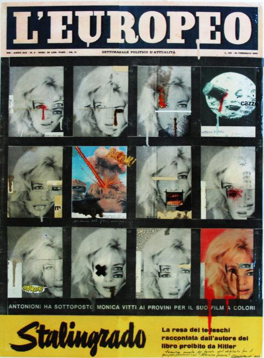 2013. MONICA FOREVER tecnica mista e collage su tavoletta 44*35