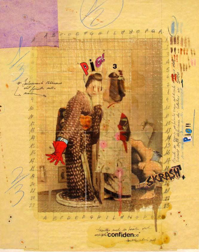 2014. CONFIDENCE tecnica mista e collage su tavoletta 57*45 cm