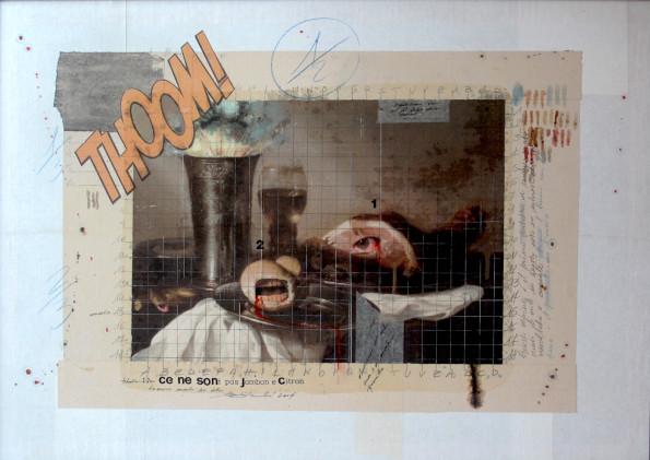 2014. CE NE SONT PAS JAMBON E CITRON tecnica mista e collage su tavoletta 50*70 cm