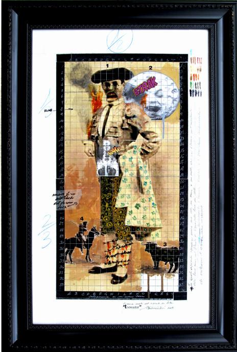 2014. TOREADOR tecnica mista e collage su tavoletta 70*50 cm