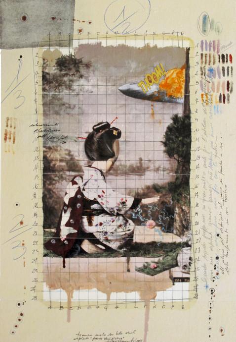 2014. PRIMA DELL'ATOMICA tecnica mista e collage su tela 70*50 cm