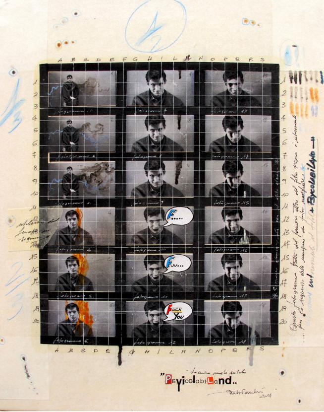 2014. PSYCOLABILAND tecnica mista e collage su tela 50*40 cm