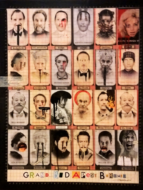 2015. GRAND BUDAPEST BURDHEL tecnica mista e collage su tela 90*70 cm