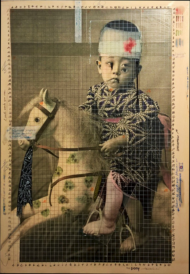 2017. THE PONY tecnica mista e collage su tela 100*70 cm