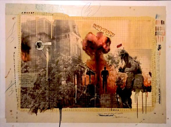 2016. PSICOLABILAND tecnica mista e collage su tavoletta 93*120 cm