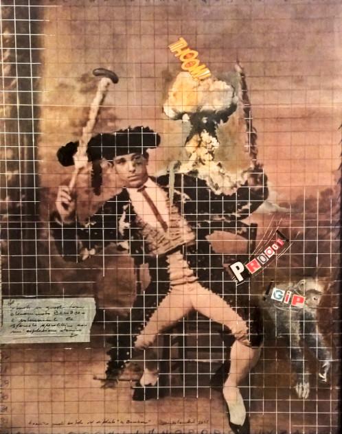 2016. IL BOMBERO tecnica mista e collage su tavoletta  50*40 cm