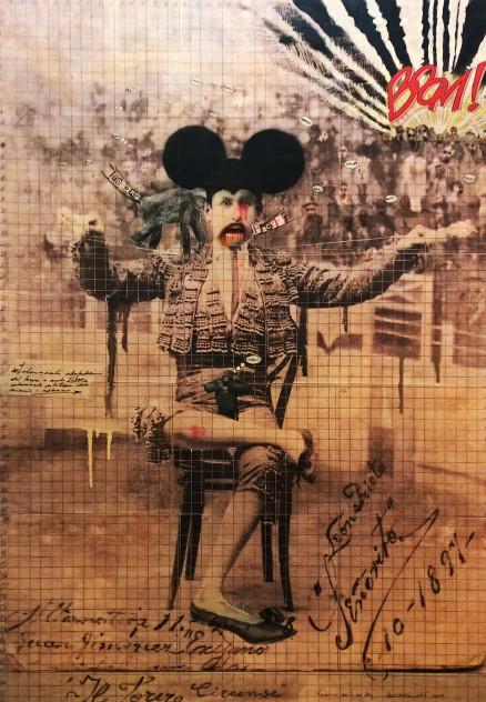 2016. IL TORERO CIRCENSE tecnica mista e collage su tela100*70 cm