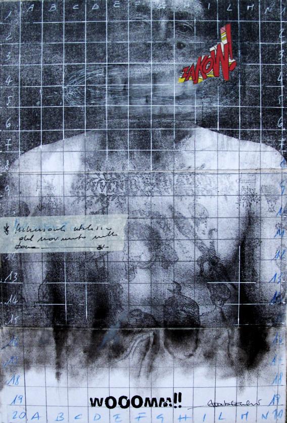 2016. WOOOMM tecnica mista e collage su tela 30*20 cm