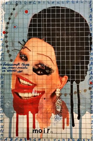 2016. MOIRA tecnica mista e collage su tavoletta 30*20 cm