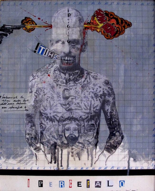 2016. IPERCEFALO tecnica mista e collage su tavoletta 50*40 cm