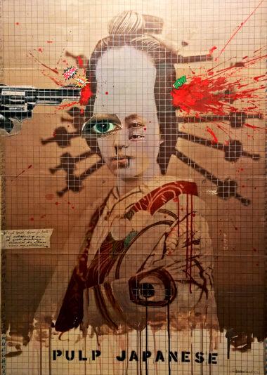 2016. PULP JAPANESE tecnica mista e collage su tela 100*70 cm