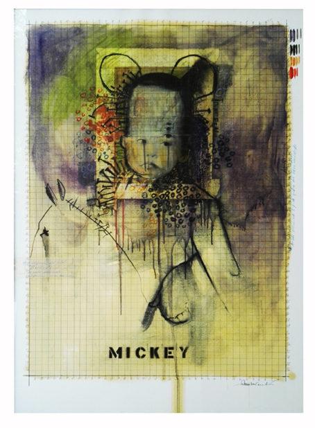 2017. MIKY carboncino matite e olio 80x110 cm