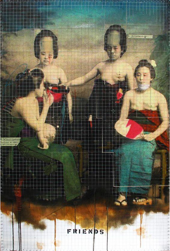 feb 2018. FRIENDS, olio e tecnica mista su tela, 100x150 cm