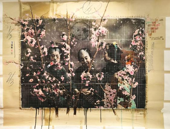 dic 2017. JAPANESE LANDSCAPE, tecnica mista su tela, 203x158cm, arazzo