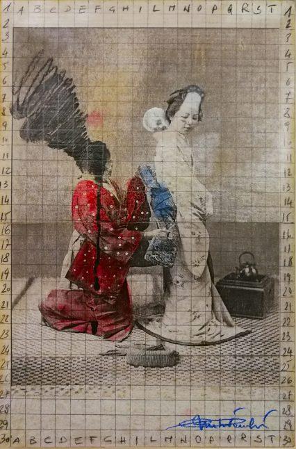 ago 2018. SENZA TITOLO, tecnica mista su tavoletta di legno, 20x30 cm