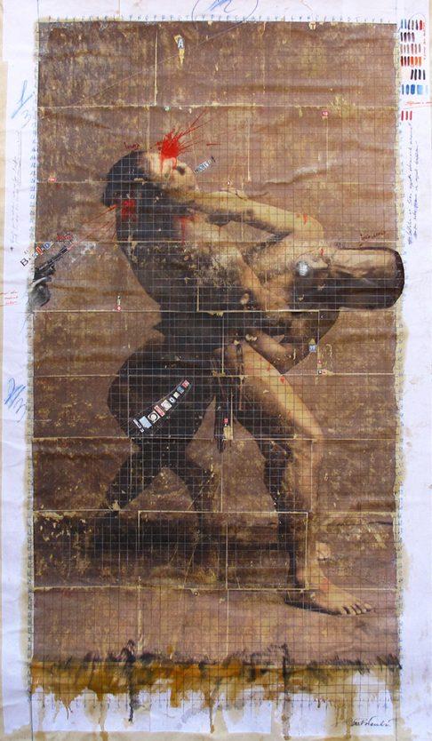 feb 2018. SUMOOO, tecnica mista su tela, 115x195 cm, arazzo