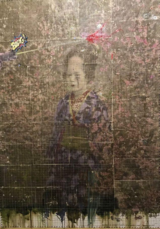 giu 2018. MORTE DI UN CILIEGIO, tecnica mista su tela,135x200 cm, arazzo