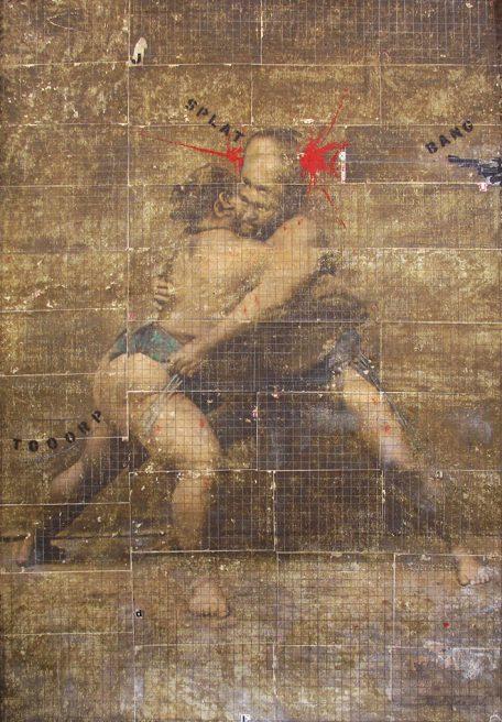 mar 2018. LOTTATORI DI SUMO, tecnica mista su tela di juta, 200x250 cm, arazzo